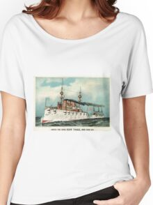 Armoured steel cruiser New York, United States Navy - 1893 - Currier & Ives Women's Relaxed Fit T-Shirt