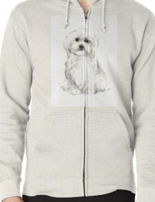 Maltese abstract dog poster Zipped Hoodie