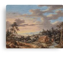 German School, late 18th century, Wide Landscape with Farmstead Canvas Print