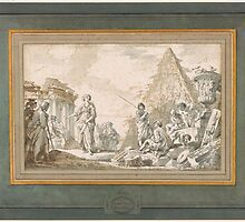 Gian Paolo Panini or 2-A Capriccio of Classical Ruins with Figures including a Sybil by Adam Asar