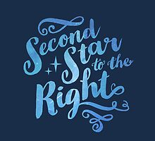 Second Star To the Right // Pretty Star Peter Pan Typography Quote by hocapontas