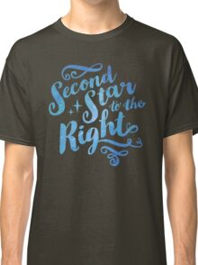 Second Star To the Right // Pretty Star Peter Pan Typography Quote Classic T-Shirt