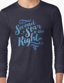 Second Star To the Right // Pretty Star Peter Pan Typography Quote Long Sleeve T-Shirt