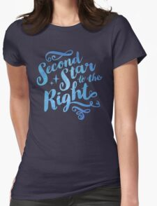 Second Star To the Right // Pretty Star Peter Pan Typography Quote Womens Fitted T-Shirt