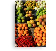Fresh Fruits and Vegetables at the Market Canvas Print