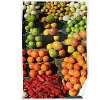 Fresh Fruits and Vegetables at the Market Poster
