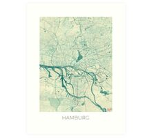 Hamburg Map Blue Vintage Art Print