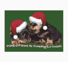 Vector Santa Paws Is Coming To Town Christmas Greeting Kids Tee
