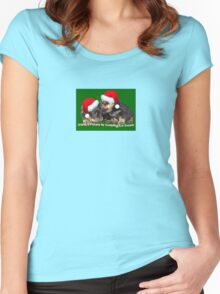 Vector Santa Paws Is Coming To Town Christmas Greeting Women's Fitted Scoop T-Shirt