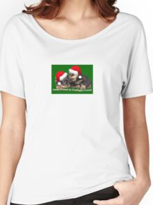 Vector Santa Paws Is Coming To Town Christmas Greeting Women's Relaxed Fit T-Shirt