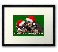 Vector Santa Paws Is Coming To Town Christmas Greeting Framed Print