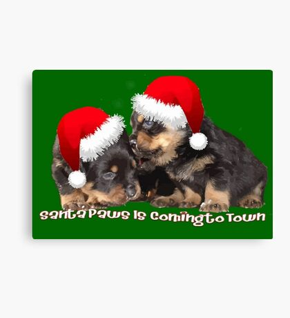 Vector Santa Paws Is Coming To Town Christmas Greeting Canvas Print