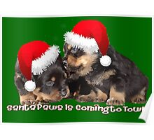 Vector Santa Paws Is Coming To Town Christmas Greeting Poster