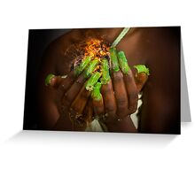 African model with a ball of fire in her hands.  Greeting Card