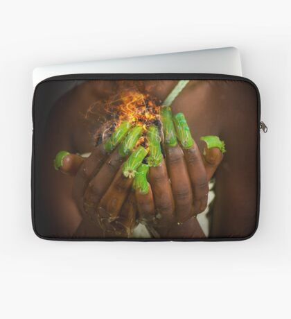 African model with a ball of fire in her hands.  Laptop Sleeve