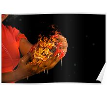 African model with a ball of fire in her hands.  Poster