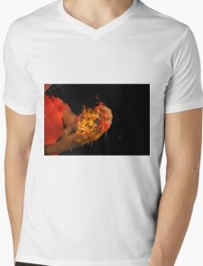 African model with a ball of fire in her hands.  Mens V-Neck T-Shirt