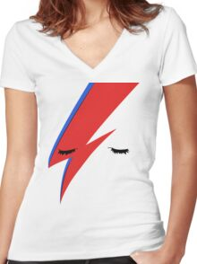 BOWIE CLOSE UP Women's Fitted V-Neck T-Shirt