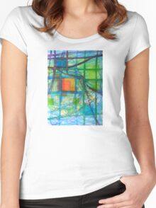 Captured Squares Women's Fitted Scoop T-Shirt