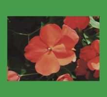 Vivid Orange Vermillion Impatiens Flower One Piece - Short Sleeve