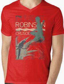 Books Collection: Robinson Crusoe Mens V-Neck T-Shirt