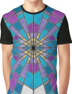 Stain Glass Ray Blue and Purple  Graphic T-Shirt