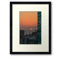 Aerial View of Sunset at the River in Montevideo Uruguay Framed Print