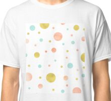 Gold peach blue watercolor dots design Classic T-Shirt