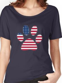 American flag paw print Women's Relaxed Fit T-Shirt