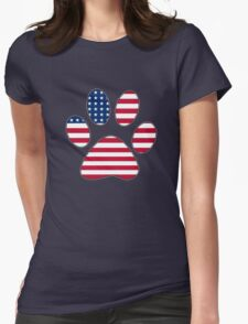 American flag paw print Womens Fitted T-Shirt