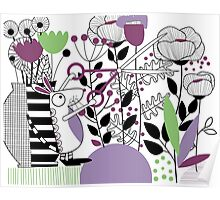 Mouse Picking Flowers Poster