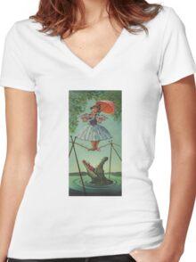 haunted mansion umbrela Women's Fitted V-Neck T-Shirt