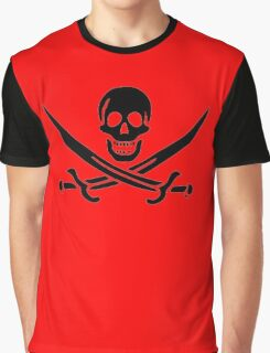 Jolly Roger, Yo Ho Ho! PIRATE FLAG, Jack Rackham, Skull & Crossbones, Cutlass, Swords, Pirate, Crew, Buccaneer, BLACK Graphic T-Shirt