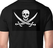 Jolly Roger, PIRATE FLAG, Jack Rackham, Skull & Crossbones, Cutlass, Swords, Pirate, Crew, Buccaneer, white Unisex T-Shirt