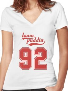 Team Puddin'! (RED) Women's Fitted V-Neck T-Shirt