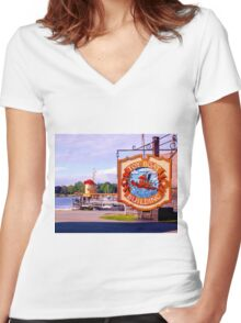 Small Scale Women's Fitted V-Neck T-Shirt