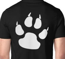 PAW, FOOT PRINT, DOG, CANINE, WHITE PAW, PADS, CLAWS, Cats Paw, Catspaw, Dog Paw, Cat, Dog, Pet, foot, track, scratch Unisex T-Shirt