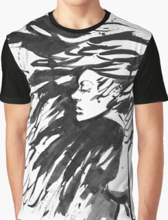 Young goth woman. Dark Queen . Fantasy black hair. Drawn ink Graphic T-Shirt