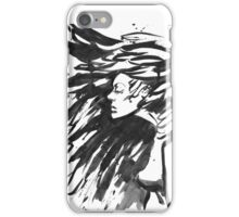 Young goth woman. Dark Queen . Fantasy black hair. Drawn ink iPhone Case/Skin