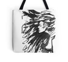 Young goth woman. Dark Queen . Fantasy black hair. Drawn ink Tote Bag
