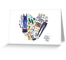 fashion illustration. heart of clothes. painted in watercolor Greeting Card