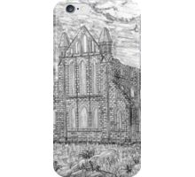 My pencil drawing of Whitby Abbey, Yorkshire iPhone Case/Skin