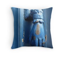 added to my collection: a blue door knocker Throw Pillow
