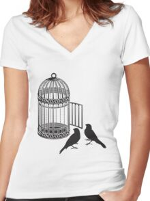Bird Cage #5  Women's Fitted V-Neck T-Shirt