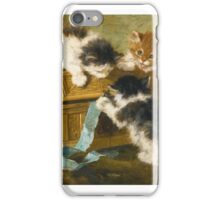 Henriëtte Ronner-Knip  DUTCH THREE KITTENS WITH A CASKET AND BLUE RIBBON iPhone Case/Skin