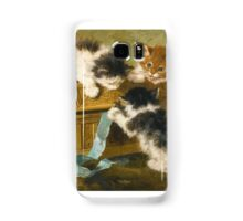 Henriëtte Ronner-Knip  DUTCH THREE KITTENS WITH A CASKET AND BLUE RIBBON Samsung Galaxy Case/Skin
