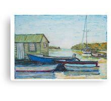 Blue boats 02 , oil pastels  Canvas Print