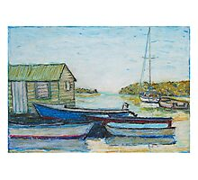 Blue boats 02 , oil pastels  Photographic Print