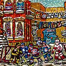 WINTER IN THE CITY FUN HOCKEY GAME IN THE LANE WAY MONTREAL CANADIAN ARTIST by Carole  Spandau