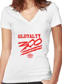 Chief Keef / GLOGANG/ 300 / 3HUNNA Women's Fitted V-Neck T-Shirt